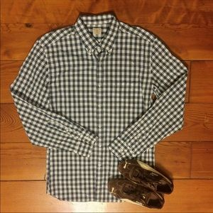 J Crew blue & white gingham pattern long sleeve